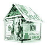 Green dollar house, money building isolated on white background Royalty Free Stock Photos