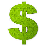 Green dollar puzzle Royalty Free Stock Image