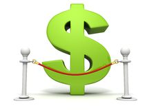 Green dollar sign behind of red rope barrier Royalty Free Stock Image
