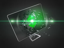 Green dollar sign destroy computer screen. Royalty Free Stock Images