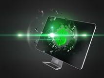 Green dollar sign destroy computer screen. Stock Photos