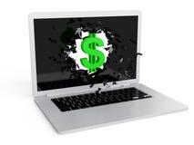 Green dollar sign destroy laptop Stock Photos