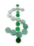 Green Dollar Sign made from Coins Stock Photography