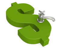 Green dollar sign with water faucet. 3D rendering Stock Images