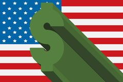 Green dollar symbol on USA flag background Royalty Free Stock Photography