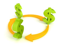 Green dollar symbols with cycled orange arrows Stock Image