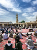 Green Dome Nabawi清真寺,麦地那,沙特阿拉伯的屋顶 免版税库存照片