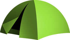 Green dome tent. Vector dome tent, camping and hiking equipment Royalty Free Stock Images
