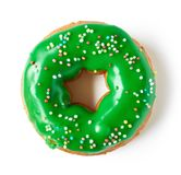 Green donut isolated on white, from above Royalty Free Stock Photography