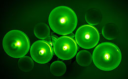 Green Donut Lights. On the Ceiling Wall in the modern building Royalty Free Stock Photography