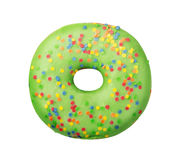 Green donut with sprinkles. Isolated on white background Stock Image