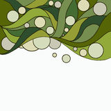 Green doodle background with white circles Stock Image