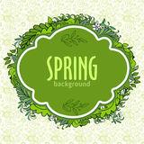 Green doodle banner with text and floral composition on border. Green doodle banner with text and floral composition on hand drawn pattern. Fresh stylish design Stock Images