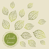 Green doodle circle frame with hand drawing  leaves. Green doodle circle frame with hand drawing leaves in beige background. Hand-drawn vector illustration in Royalty Free Stock Photo