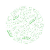 Green Doodle Drawings of Dollars Arranged in a Shape of a  Circle. Hand Drawn Banknotes. Sketch Style. Royalty Free Stock Image
