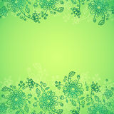 Green doodle flowers  background Stock Image