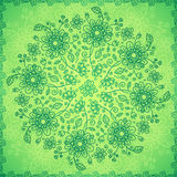 Green doodle flowers vector background Royalty Free Stock Photo