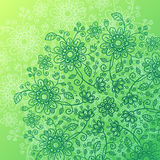 Green doodle flowers vector background Royalty Free Stock Image