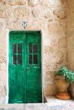 Green door. Old wooden door in the Jerusalem's patio Royalty Free Stock Photo