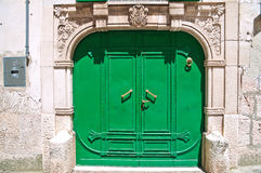 Green door. Altamura. Puglia. Italy. Royalty Free Stock Photo