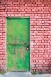 Green Door And Brick Wall Stock Photos