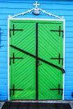 Green door of church of St. Paraskeva in Divin Royalty Free Stock Image