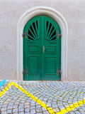 Green Door Cobblestone Street Royalty Free Stock Images