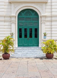 Green Door of European Style White Building Royalty Free Stock Image