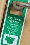 Green door hanger Stock Photo