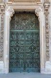 Green Door 2. Intricate green door set within white frame masonary detailed stone Stock Photos