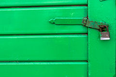 Green Door with Lock Royalty Free Stock Photos
