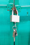 Green door locked with padlock Royalty Free Stock Images