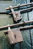 Two iron locks. Green door locked by two huge iron locks royalty free stock image