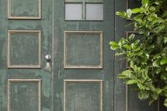 Green_door_orange_squares-2 Stockbilder