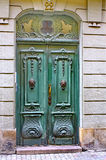 Green door, street of Stockholm Stock Photography