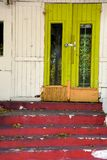 Green door with weathered red steps. Bright colored chartreuse painted door with weathered red steps Royalty Free Stock Photo
