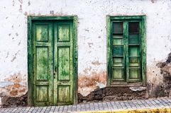 Green door and window of an old house in Spain. Gran Canaria stock photo