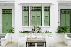 Green door and window Stock Photography