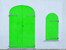 Green door and window Royalty Free Stock Image