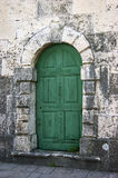 Green Door. The green wooden door in the village of Dobrota (Montenegro Royalty Free Stock Photos