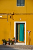 Green door of a yellow house Royalty Free Stock Image