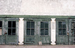 Green doors. Old green painted doors in Holland royalty free stock image