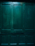 Green doors. Wood texture. Old shabby, irradiated paint Royalty Free Stock Images