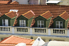 Green dormers. With orange roof Stock Image
