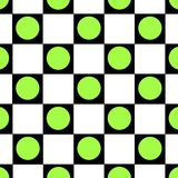 Green dot checkered background. Green dot with black and white checkers Royalty Free Stock Image
