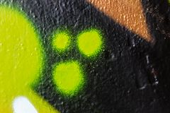 Green dots graffiti macro Stock Photos