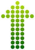 Green dotted arrow pointing up. Vector. Stock Photo