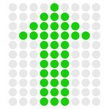 Green dotted arrow pointing up. Vector. Royalty Free Stock Photography