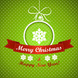 Green dotted christmas background with ball. Christmas card Royalty Free Stock Photo