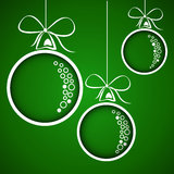 Green dotted christmas balls Stock Photo